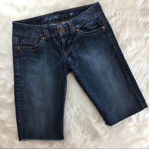 Guess Denim Jeans Shorts Long Bermuda Raw Hem 28